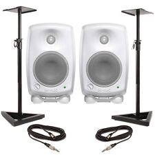 Genelec 8010A - White (Pair) With Stands & Cables
