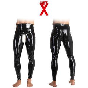 Late X Sexy Men's Latex Pants Leggings Ring Penis Hole Pantaloni Latice con Foro