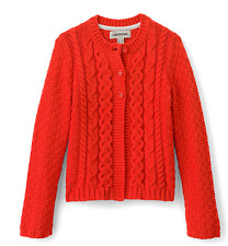 Land's End Girls Cable Pink Cardigan Size S 7-8