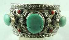 Cuff Bracelet Turquoise & Coral Sterling Silver Statement Stylish Jewelry