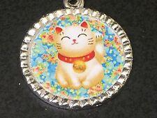 """Luck Charm Tibetan Silver 18"""" Necklace Maneki Neko Money Lucky Cat Blue Good"""
