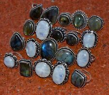 20 PCs. Natural Labradorite & Moonstone 925 Sterling Silver Plated Ring Jewelry