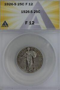 1926-S  .25  ANACS   F 12   Standing Liberty Quarter,Liberty 25 Cents