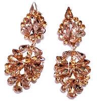 Rhinestone Chandelier Earrings Crystal 2.9 inch Topaz