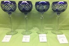 4 Cobalt Blue Cut to Clear Crystal Wine Hocks Glasses AJKA,Lausitzer,Nachtmann