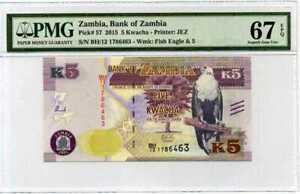 Zambia 5 Kwacha 2015 P 57 Superb Gem UNC PMG 67 EPQ