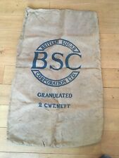 Sac Anglais BSC utilisé pour le transport de sucre .. Vintage .. vers 1960 ..