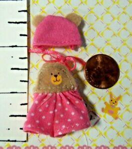 Kelly Small Doll Clothes *Krissy's Pink Polka Dot Teddy Bear Bib'd Jumper & Hat