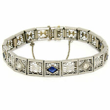 Antique Art Deco 14k White Gold Round Diamond Sapphire Etched Filigree Bracelet