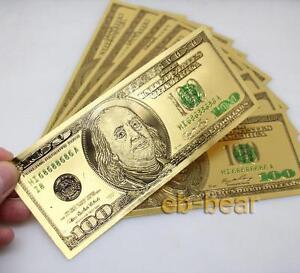 Wholesale lots 100 Pcs $100 US dollar Color Gold Banknotes Crafts Beautifully
