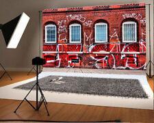 7x5ft Background Red Brick Wall Scene Photo Backdrop Studio Props Scrawl Vinyl