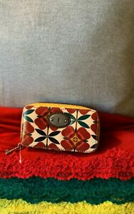 Fossil Key-Per Red Multi-Color Floral Coated Canvas Jewelry Zip Around Case