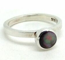 Dark Mother of pearl stacking ring solid Sterling Silver, UK size M 1/2, New. UK