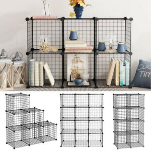 6/8/12 Cube Storage Shelf Rack Metal Grid Bookcase Display Cabinet Multipurpose