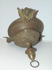 LUSTRE de CHAPELLE SUSPENSION avec 3 ANGELOTS Bronze et Laiton XIXe à nettoyer