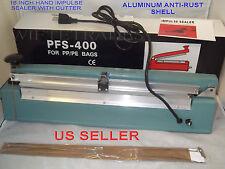 "16"" PFS400C Hand Impulse Sealer With Cutter +2 Heating Element + 2 Teflon Sheet"