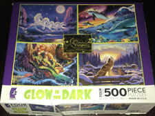 Ceaco 4 Fantasy Glow in the Dark 500 Pieces Jigsaw Puzzles Wolf Dolphins Horses