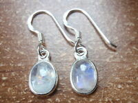 Tiny Moonstone Earrings 925 Sterling Silver Dangle Drop New