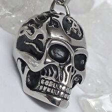 Alchemy Skull an Lederkette 316 Edelstahl L:50 cm Totenkopf Tattoo Bikerschmuck