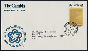 Gambia 337 on addressed FDC - American Bicentennial, Declaration of Independence