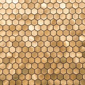Self-adhesive Mosaic Aluminium Tile Hexagon Gold Kitchen Feature Decorative