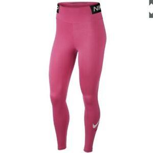 Women's Nike dri fit leggings  Medium Pink, black and white