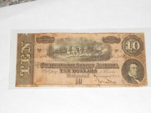 $10 TEN DOLLAR 1864 CONFEDERATE STATES OF AMERICA CURRENY NOTE