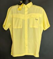 NWT Under Armour Mens Size Large L Yellow Fishing Button-Up Vented Hiking Shirt