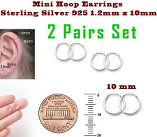 Mini Hoop Earrings Sterling Silver 925 1.2mm x 10mm 2 Pairs Set Super Small