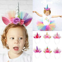 Hair Accessories Horn Hair Bands Unicorn Headband Lace Flower Elastic Crown