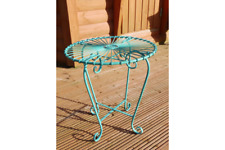 Retro Style Side Garden Table French Vintage Occasional Metal Iron Shabby Chic