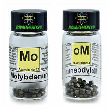 Molybdenum metal element 42 Mo pellets 5 grams 99,99% in labeled glass vial