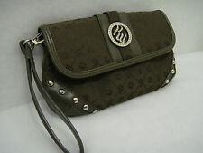 ROCAWEAR Large Moss Green Wristlet  Rhinestones Studs Club Purse Bag Clutch NWOT
