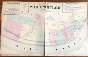 RARE 1873 color STREET MAP of PHILLIPSBURGH Pennsylvania MONACA Pa OHIO RIVER