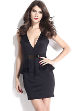 Black Deep Dress V Ruffle Peplum with Metal Plate