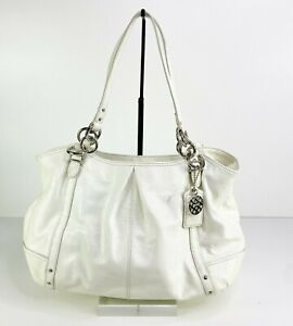 Coach hobo Shoulder Bag patent leather White Pink satin interior Charms Silver