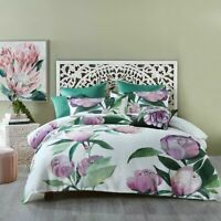 Charmaine Quilt Cover Set White by Bianca | Large Florals in mauve tones