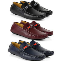 Mens Slip On Designer Leather Loafers Driving Casual Shoes Smart Moccasin Size