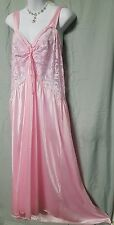 "Ventura Long Sexy Pink Nylon Nightgown W/Lace Size 4X/5x 54"" BUST Gift B3G1 FREE"