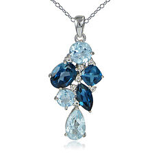 Sterling Silver with 4.6ct TGW London Blue, Blue Topaz and White Topaz Cluster