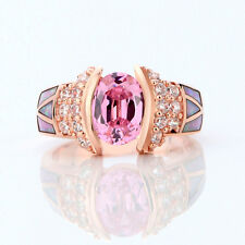 Pink Sapphire & Fire Opal Wedding Ring Women's Rose Gold Filled Jewellery