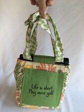Ladies Floral Fabric Purse Phone Pocket Shoulder Strap. Golf Embroidered Pocket