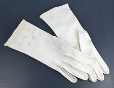 1960s Vintage (Sz 6.5) Embroidered Pearl Beaded Wedding Gloves White Occasion