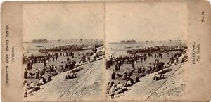 Stereo Card Crowded Blackpool Beach Pier Yachts Horse Drawn Bathing Carriage
