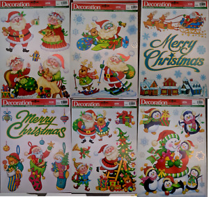 Christmas Window Stickers Decorations Reusable Merry Christmas Santa Penguins