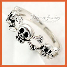 MENS LADIES SILVER SKULL BONE CROSSOVER PUNK HALLOWEEN STATEMENT SOLID BAND RING