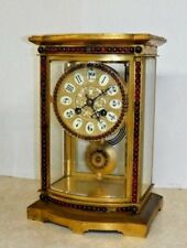 ANTIQUE VINCENTI CALDWELL FRENCH CRYSTAL REGULATOR JEWELED CHIME CLOCK WORKING