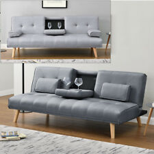 Modern Scandi Grey Fabric 2 / 3 Seater Small Single Sofa Bed With Drinks Holder
