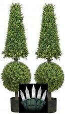 """2 ARTIFICIAL 50"""" BOXWOOD OUTDOOR TOPIARY TREE CONE BALL CHRISTMAS LIGHTS POOL 4'"""