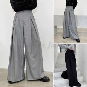Mens Wide Leg Causal Trousers Formal Smart Slacks Pants Loose Causal Bottoms UK